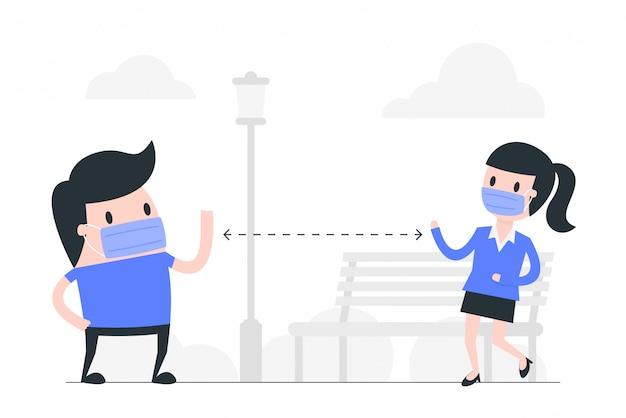 Illustration de concept de distanciation sociale.