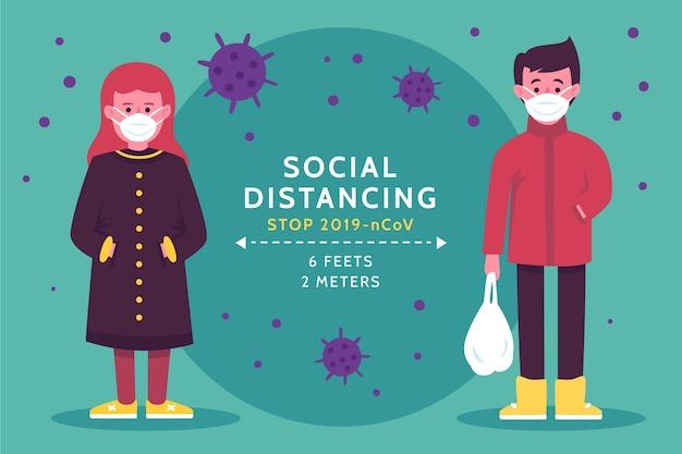 Illustration de concept de distanciation sociale