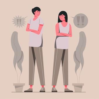 Illustration de concept de divorce jeune couple