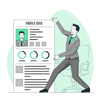 Illustration de concept de données de profil