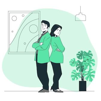 Illustration de concept dos à dos