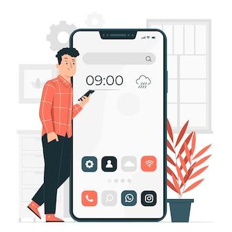 Illustration de concept d'écran d'accueil