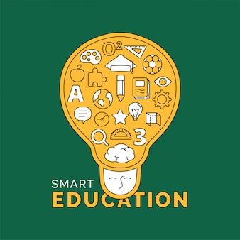 Illustration de concept d'éducation intelligente conception de vecteur de style doodle.