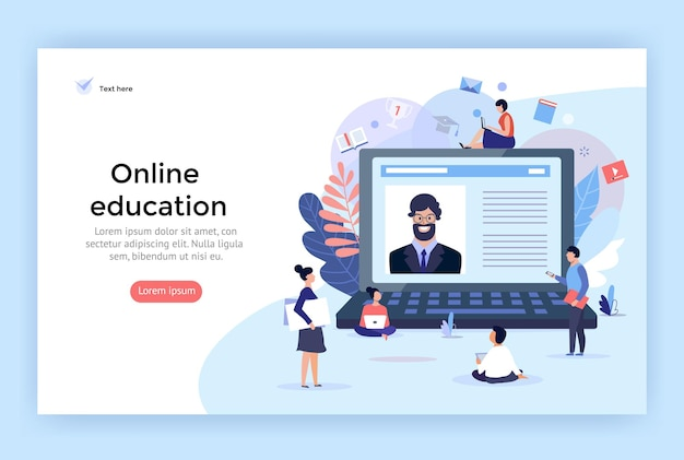 Illustration de concept d'éducation en ligne