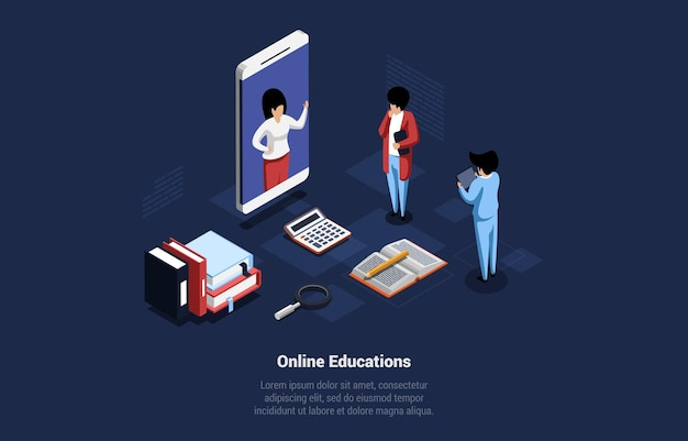 Illustration de concept d'éducations en ligne sur fond sombre avec l'écriture. composition de vecteur isométrique dans le style 3d de dessin animé. technologie d'apprentissage sur internet et nouveau processus de système d'étude, idée de quarantaine.