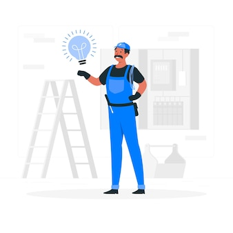 Illustration de concept d'électricien