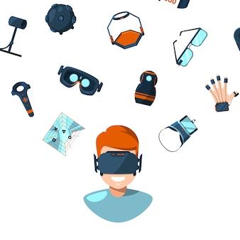 Illustration de concept avec des éléments de réalité virtuelle de style plat volant au-dessus de la personne de l'homme dans des lunettes de réalité virtuelle