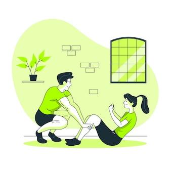 Illustration de concept d'entraîneur personnel