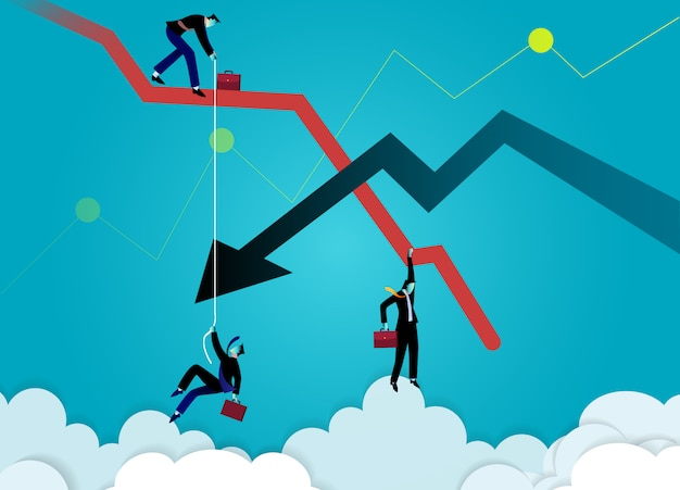 Illustration de concept d'entreprise. graphique homme d'affaires tombant et flèche descendante. graphique de crise. l'échec de l'entreprise.