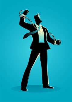Illustration de concept d'entreprise d'un homme d'affaires briser les chaînes, liberté, esprit, lutte, révolution dans le concept d'entreprise