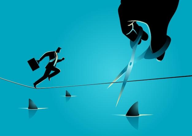 Illustration de concept d'entreprise d'un homme d'affaires fonctionnant sur une corde au-dessus d'une mer pleine de requins, tandis qu'une main géante avec des ciseaux coupe la corde