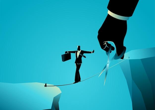 Illustration de concept d'entreprise d'un homme d'affaires marchant sur une corde au-dessus d'un ravin, pendant ce temps, une main géante avec des ciseaux coupe la corde