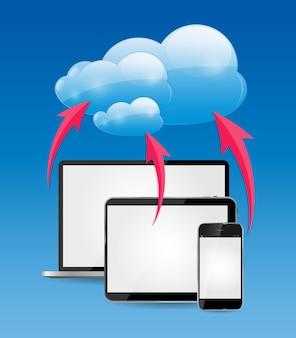 Illustration de concept d'entreprise informatique en nuage.