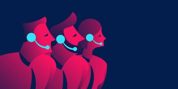 Illustration de concept d'entreprise de support de centre d'appels