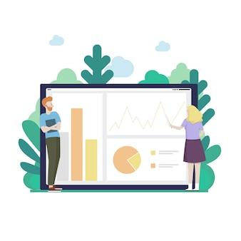 Illustration de concept d'entreprise web plat pour application d'outil d'analyse de rapport mobile. homme d'affaires et femme étudiant graphique de tarte, données et graphiques sur l'écran de la tablette. collection de personnes créatives.