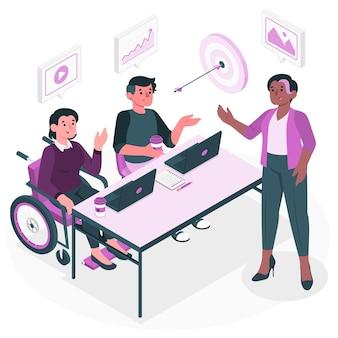 Illustration de concept d'équipe de contenu
