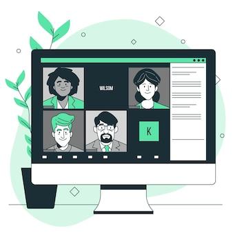 Illustration de concept d'équipe à distance