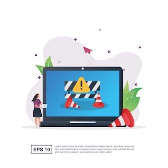 Illustration concept d'erreur avec le code 404 avec le code 404 qui est en cours de réparation à l'aide d'un ordinateur portable.
