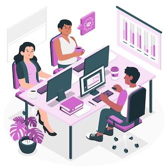 Illustration de concept d'espace de travail partagé