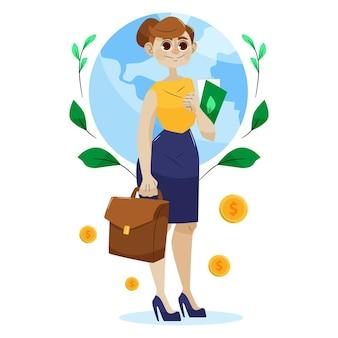 Illustration de concept d & # 39; éthique des affaires avec femme d & # 39; affaires