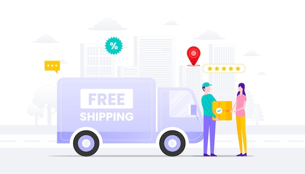 Illustration de concept d'expédition gratuite. voiture contre remboursement