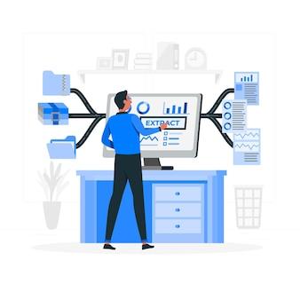 Illustration de concept d'extraction de données
