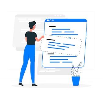 Illustration de concept d'extraits de code
