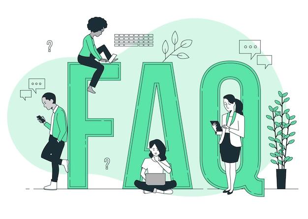 Illustration de concept de faq