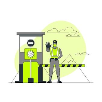 Illustration de concept de fermeture de frontière de coronavirus