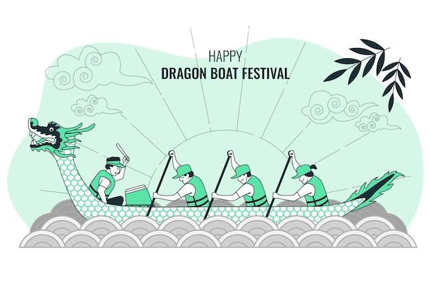 Illustration de concept de festival de bateau dragon
