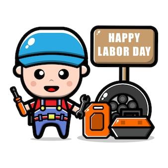 Illustration de concept de fête du travail personnage ouvrier mécanicien mignon