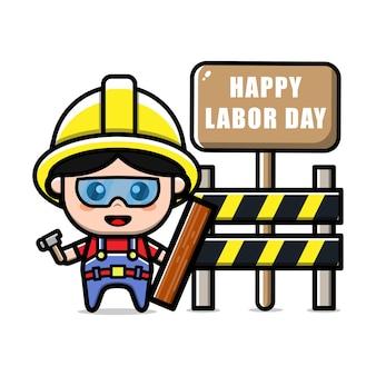 Illustration de concept de fête du travail de personnage de travailleur de la construction mignon