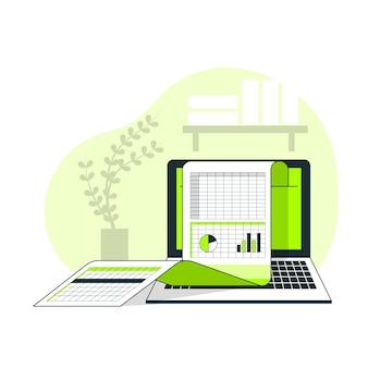 Illustration de concept de feuilles de calcul