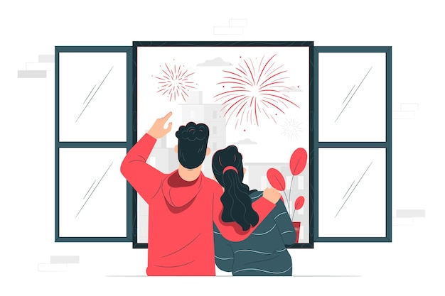 Illustration de concept de feux d'artifice