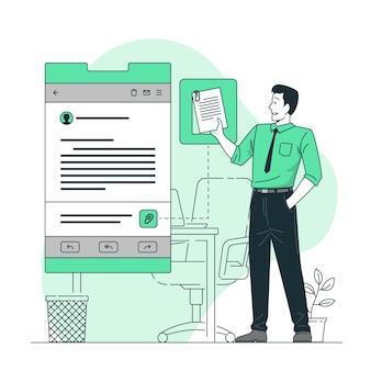 Illustration de concept de fichiers joints