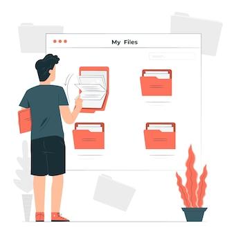 Illustration de concept de fichiers personnels numériques