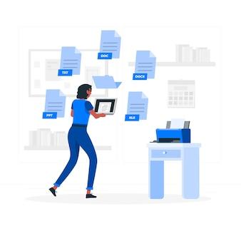 Illustration de concept de fichiers texte