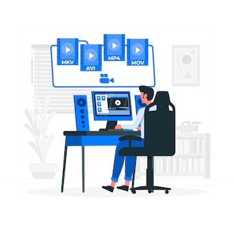 Illustration de concept de fichiers vidéo