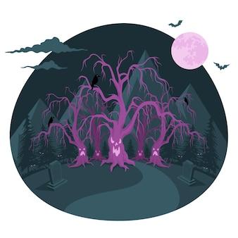 Illustration de concept de forêt hantée