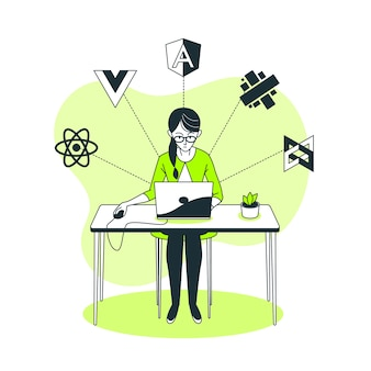 Illustration de concept de framework javascript