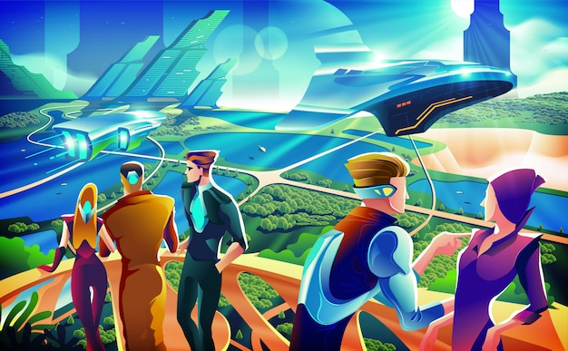 Illustration de concept futuriste terrace party