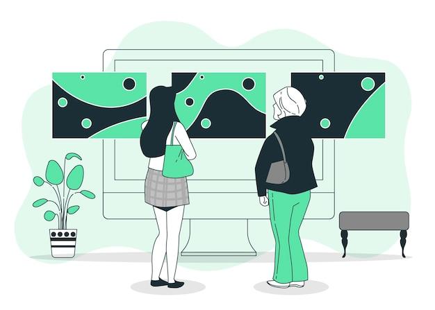 Illustration de concept de galerie en ligne