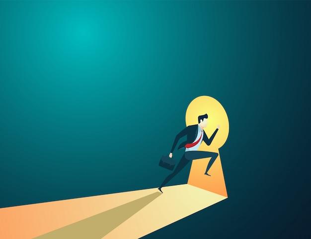 Illustration de concept de gens d'affaires courir à la clé pour les objectifs