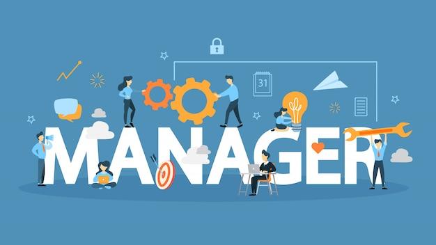 Illustration de concept de gestionnaire. idée de leader et développeur.
