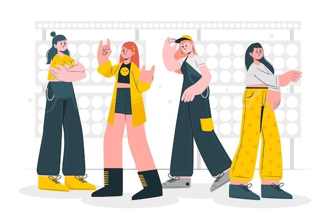 Illustration de concept de groupe k-pop