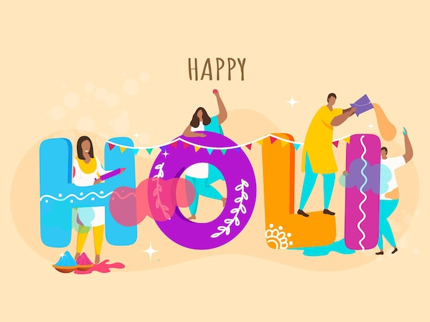 Illustration de concept happy holi