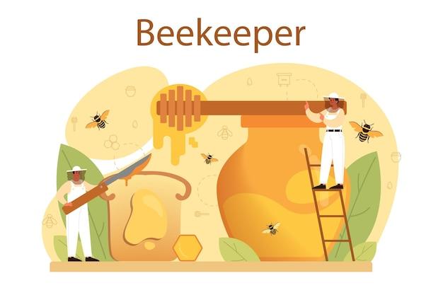 Illustration de concept hiver ou apiculteur