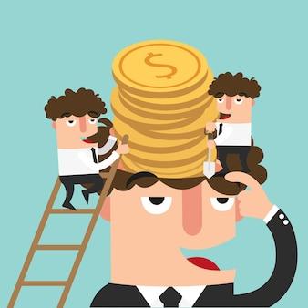 Illustration de concept d'homme d'affaires prospère