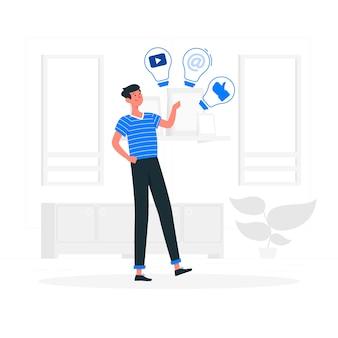 Illustration de concept d'idées sociales