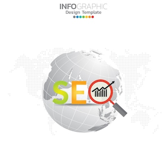 Illustration concept infographique d'infographie seo avec modèle de mise en page business.